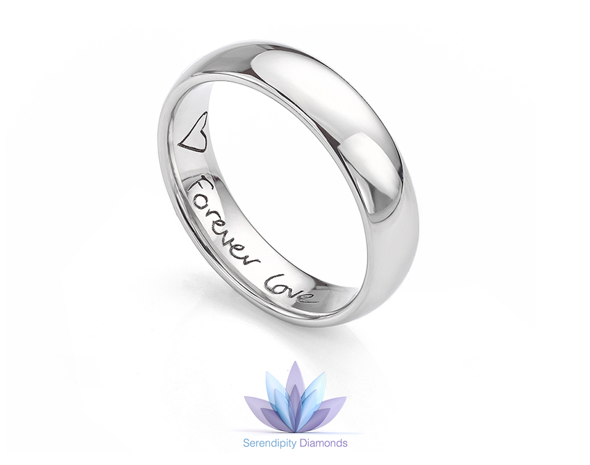 Engraved promise ring with heart and message