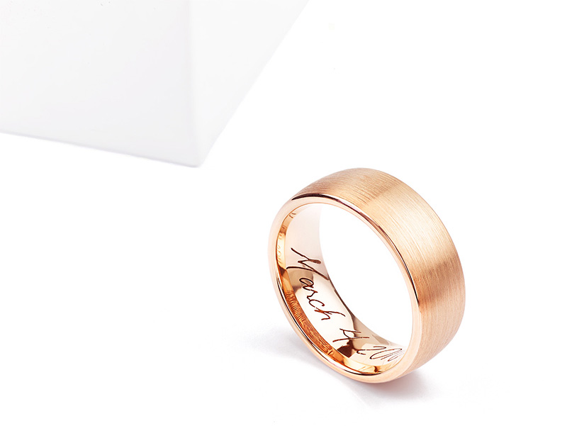 Brushed finish rose gold promise ring with handwritten engraving