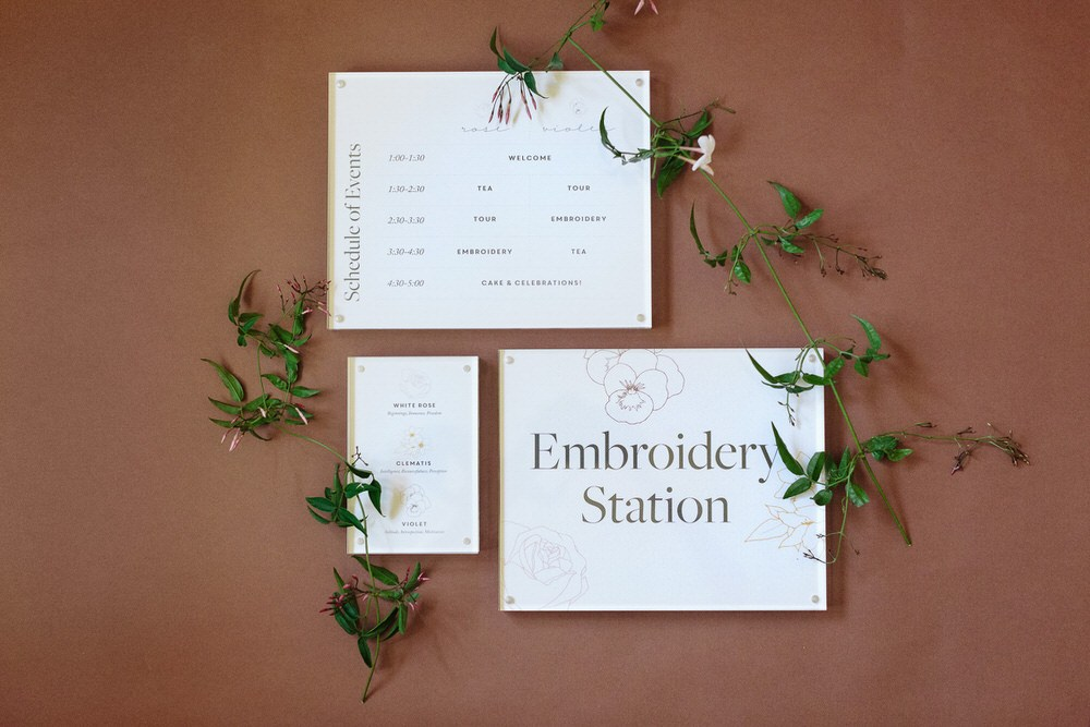 bridal shower embroidery station