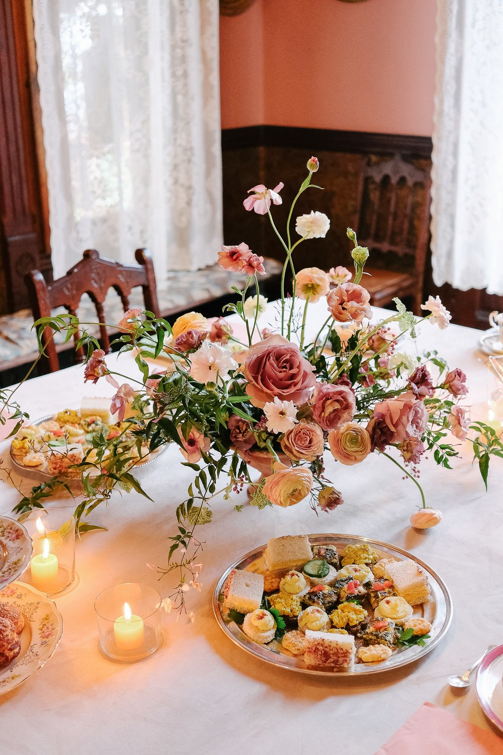 bridal tea party with small bites and textured blooms