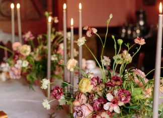 bright florals in Victorian style home