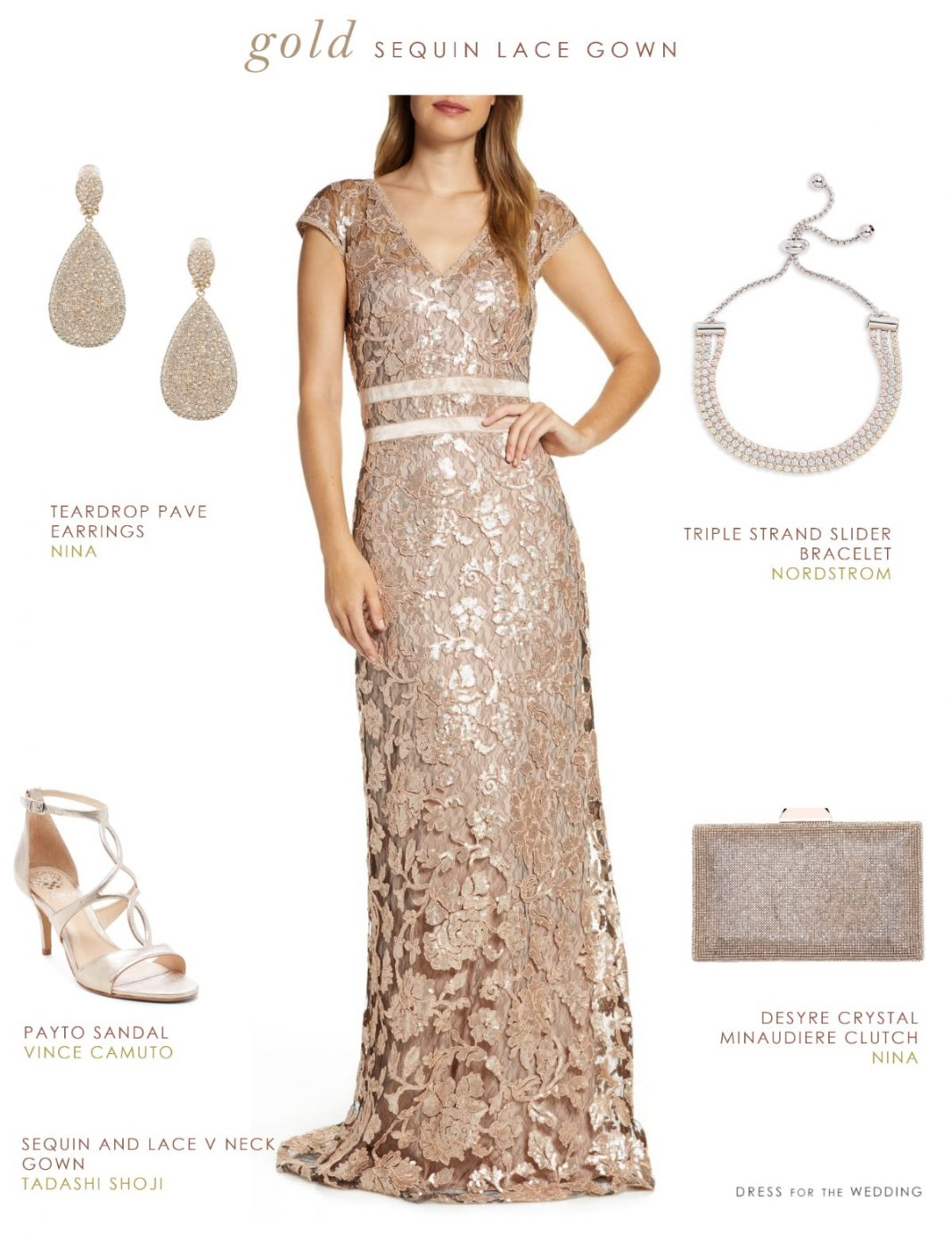 Gpld lace gown for a wedding with accessories