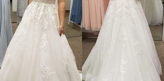 Pre-alterations and still a bit too big but MY DRESS CAME IN!!! I'm so in love and so excited to wear it at the wedding.