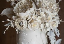 Silver and white sugar flowers for wedding cake at Abbey House Hotel in the Lake District