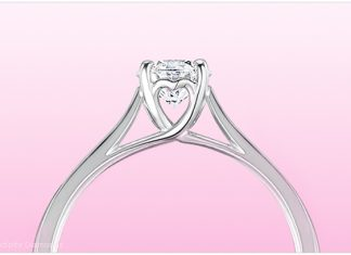 Odetta, one of the newer heart styled diamond engagement rings available