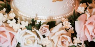 Wedding Cake with hand-piped detail and sugar flowers at Peckforton Castle, Cheshire - thefrostery.co.uk