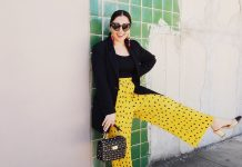 Yellow pants, Yellow spotted pants, Yellow polkadots, Yellow pleated, Plisse pants, Yellow pants outfit spring, Spring outfit