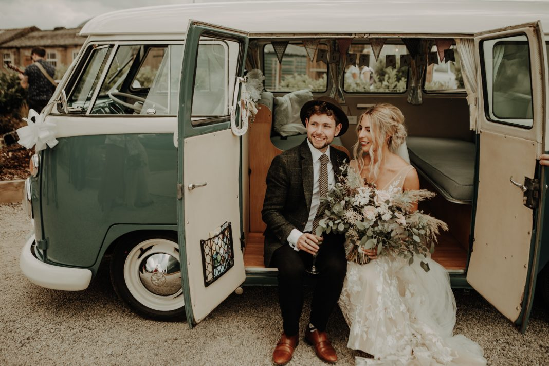 Made With Love Wedding Dress, VW Campers, Boho, Chilled, Barn Wedding, Cumbria