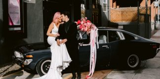 Groom with Real Bride Wearing Crepe Wedding Dress Called Fernanda by Maggie Sottero