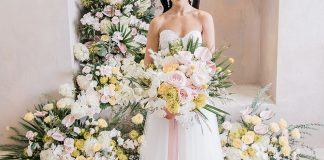 Creative, Pastel Watercolor Wedding Editorial with Aerialists