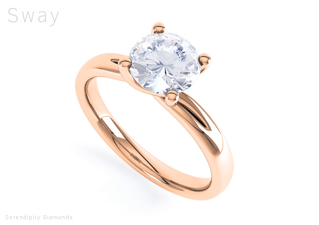four claw twist sway rose gold engagement ring