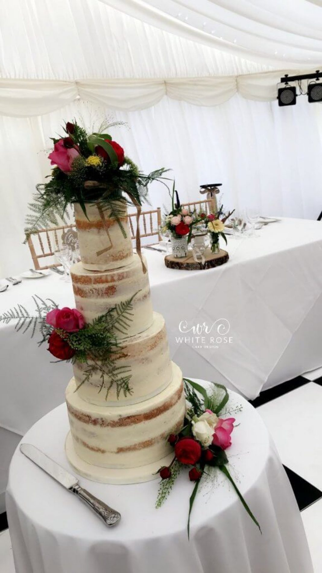 Four Tier Semi-Naked Wedding Cake with Fresh Flowers by White Rose Cake Design Cake Maker The 3 Acres Huddersfield