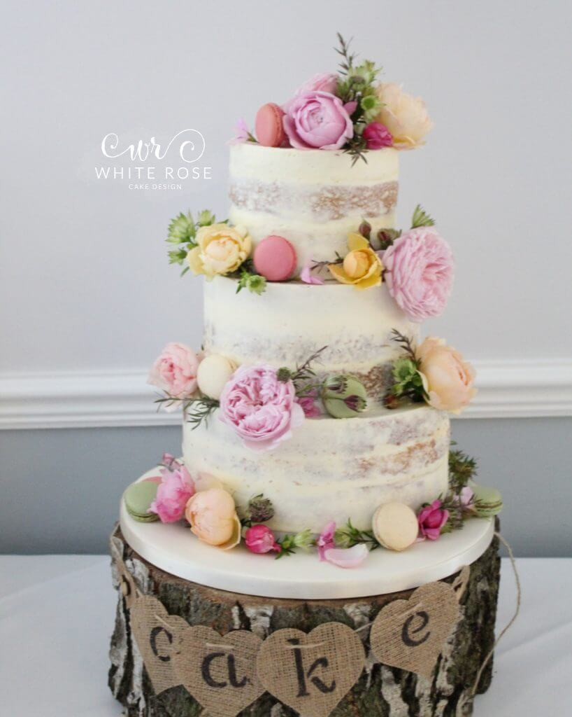 Floral Semi-Naked Wedding Cake with Fresh Flowers in Bright Colours at Durker Roods Hotel by White Rose Cake Design Wedding Cake Designer in Huddersfield Holmfirth West Yorkshire (4)