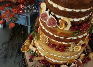 Autumnal Wedding Cake for an Autumnal Wedding at East Riddlesden Hall