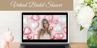 free virtual bridal shower pink background for zoom
