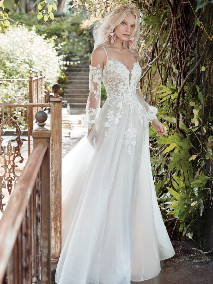 Model Wearing a Floral Wedding Dress by Maggie Sottero for a Garden Soiree Wedding
