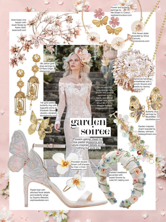 Bride with Floral Accessories for Garden Soiree Wedding Inspiration from Bridal Guide