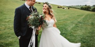 A Country House Wedding at Knighton House in Dorset with Pampas Grass, Succulents and a Bride in an Off The Shoulder Willowby by Watters Dress