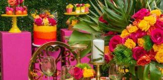hot pink Tropical theme bridal shower