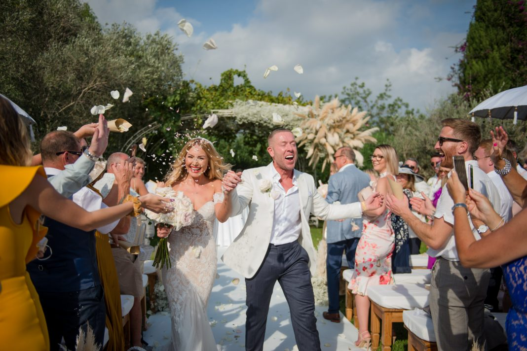 A Bride in Riki Dalal for her Sunny, Pampas Grass filled Wedding in Ibiza