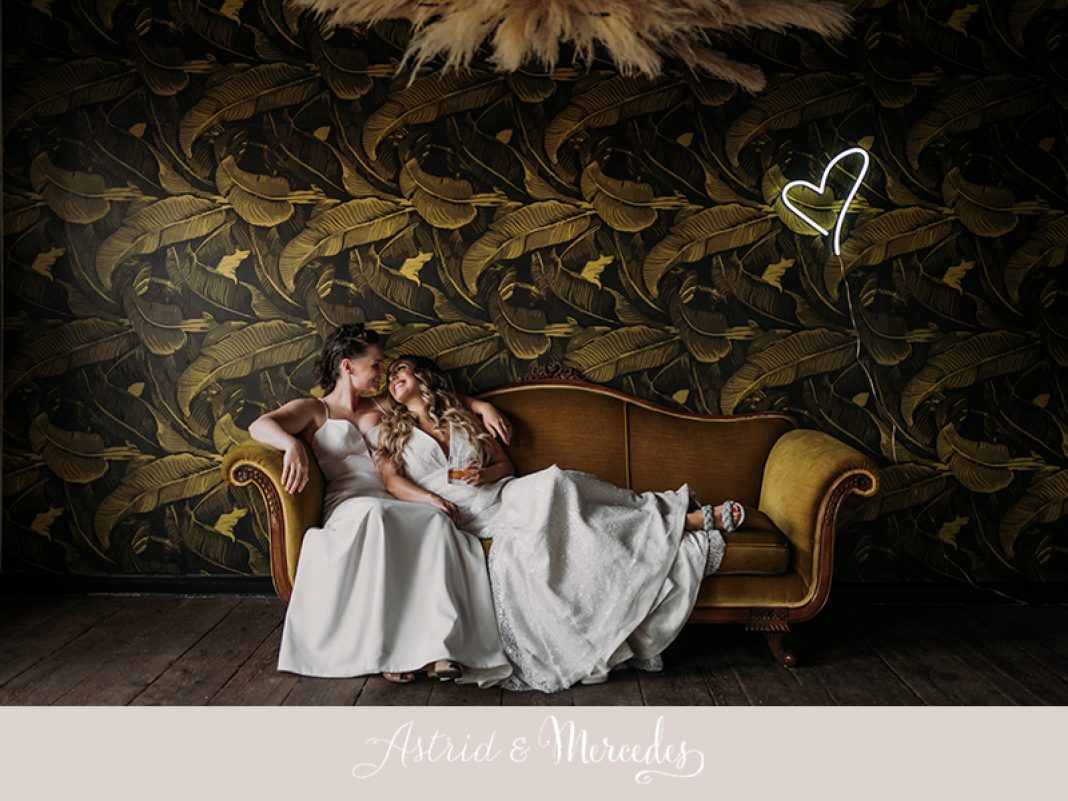 Quirky + Elegant Micro Wedding Astrid & Mercedes Stellar + Glitter Gowns