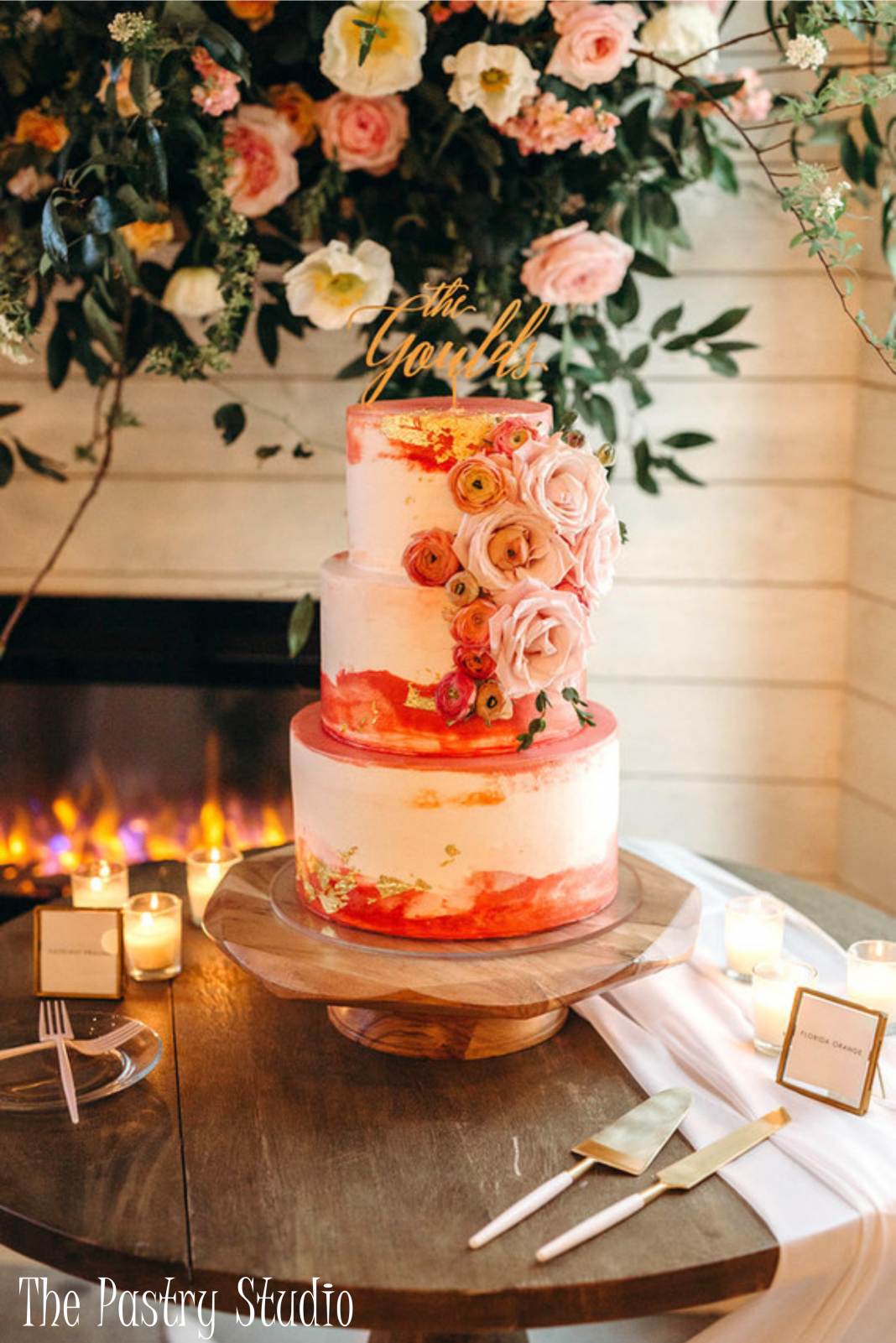 FEATURED Wedding Cake with Blush Garden Roses, Buttercups Ranunculus, Vivid Shades of Peach, & Orange complemented by Gold Gilded Foiling by The Pastry Studio – The Pastry Studio