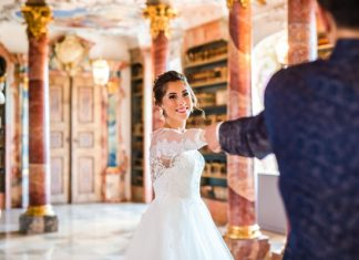 Beauty and the Beast Wedding in Baroque Library