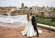 Roman Skyline Wedding Portrait