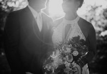 Real All Who Wander Bride Susan and groom in black and white photo