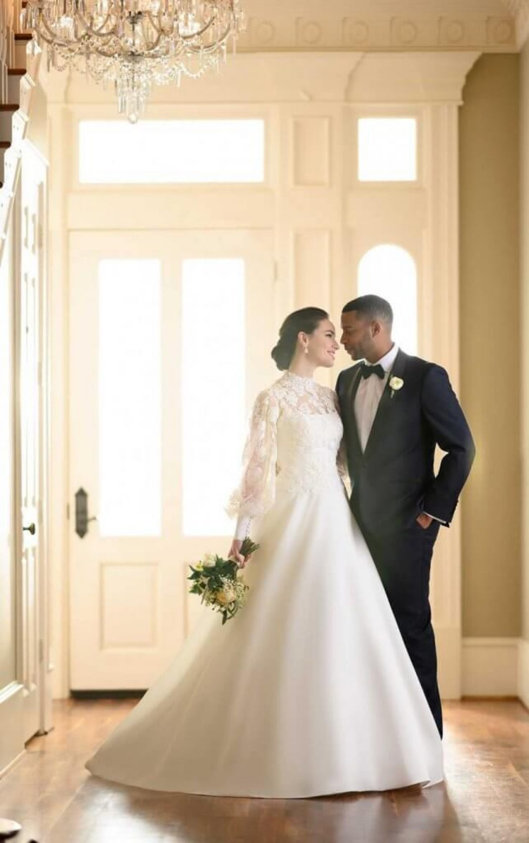 Martina Liana wedding dress with long sleeves