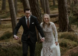 A Wild & Moody Scottish Winter Elopement at Killiehuntly Farmhouse for a Bride in Hiking Boots + a Willowby by Watters Dress