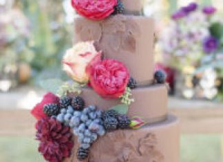 4 Tier Chocolate Fall Winter Wedding Cake with FResh Berries and Fresh Flowers