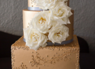 Gold Metallic 3 Tier Wedding Cake with Ivory Garden Roses and Pale Blue Accents