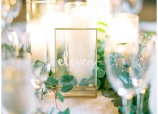 Wedding table number and candles