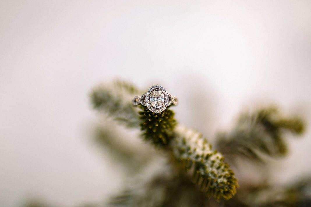 On a high mountain peak, I said yes! Stunned by this beautiful custom made ring.