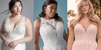 Curvy Models Wearing the Best Wedding Dresses for Apple Shaped Body Types by Maggie Sottero