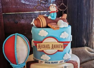 Vintage Themed Baby Shower Cake