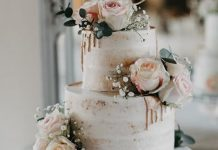 2 Tier Semi-Naked Wedding Cake with Gold drip and roses