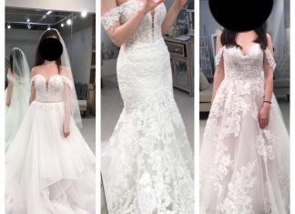 Help me pick a dress! Love the princess flowy vibe of the left, the center is super flattering but 2x the price, and the right is romantic and slightly boho. The venue is a minimal white brick renovated warehouse!
