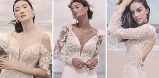 Collage of Brides Wearing Sparkly Sheath Wedding Dresses by Sottero and Midgley