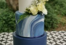 Navy Marble Wedding Cake