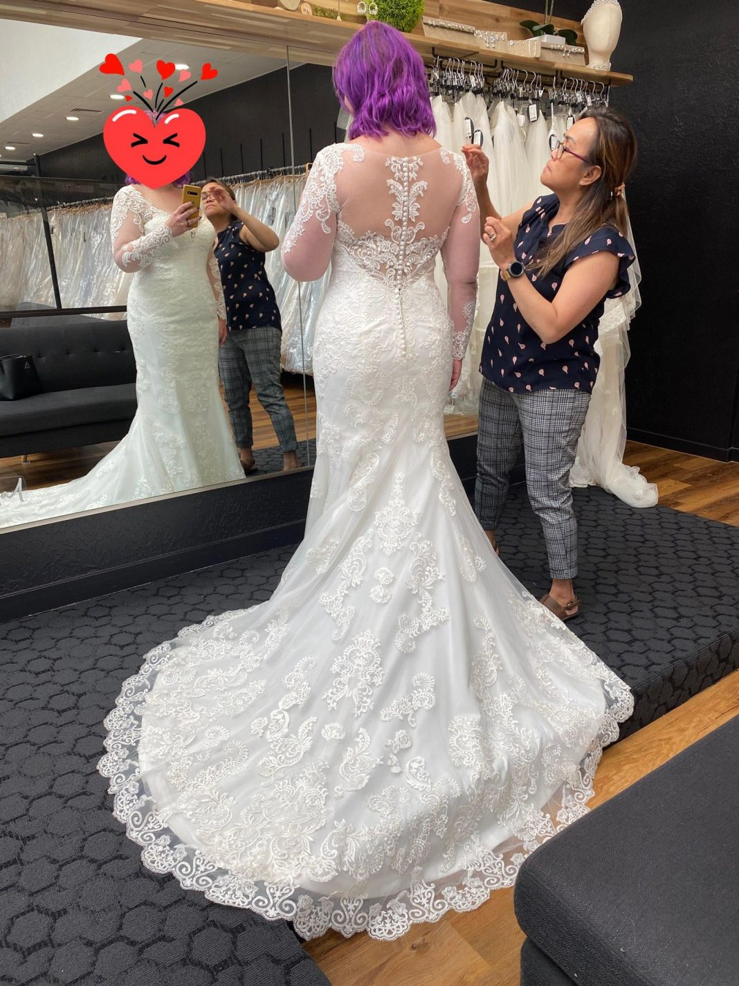 Finished my alterations! They did an AMAZING job with the illusion back! I had them add some appliqué to cover up the shapewear, but still keep the illusion feel.