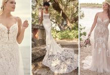 Collage of Brides Wearing Fit-and-Flare Wedding Dresses by Maggie Sottero for Brides with Athletic Body Types