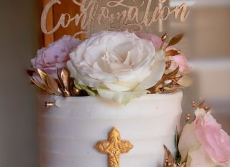 Textured Iced Confirmation Cake with Fresh Roses